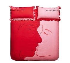 Romantic Kiss pattern Print Red Color 4 Piece Bedding Sets