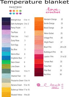 These are my colour selection for a temperature blanket using paintbox simply dk from Love crochet. I am making a printable chart to record your days and temperatures. Watch this space for your free printables. Crochet Quilt, Crochet Chart, Knit Or Crochet, Crochet Stitches, Crotchet Patterns, Granny Square Crochet Pattern, Crochet Blanket Patterns, Crochet Blankets, Temperature Afghan