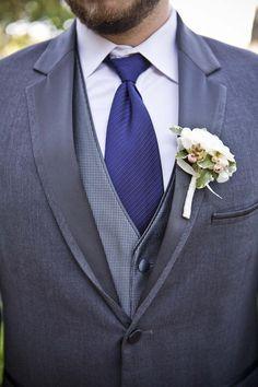 Grey Tux, Navy Tie Groom Photography By / http://addisonstudios.com