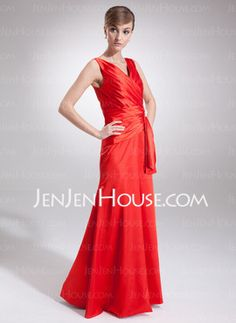 Sheath V-neck Floor-Length Charmeuse Evening Dresses With Ruffle Beading (017002579) - JenJenHouse