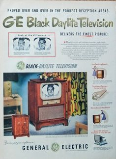 GE Black Daylite Television  print ad  Rare 50 s Color Illustration  true touch tuning Life Mag  Art