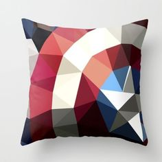 Captain America Polygon Pillow - $27 ⋆ Gifts for Marvel Fans! - visit to grab an unforgettable cool 3D Super Hero T-Shirt!