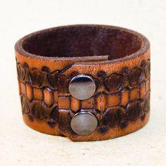 Men's Tooled Leather Bracelet Jewelry by rainwheel on Etsy, $25.00