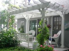 ranch with pergola over front door   How To Build A ...