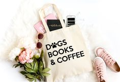 Dogs, Books & Coffee. ✅✅✅ Excited to share the latest addition to my #etsy shop: Dogs Books and Coffee, Coffee Lover Gift, Book Lover, Bibliophile, Library Book Bag, Literature, Book Bag, Canvas Tote, Dog Lover Gift, Book