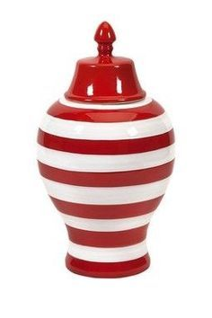 Hudson Striped Lidded Urn at Entryway Console Table, Father's Day Specials, Summer Events, Ginger Jars, Jar Storage, Red Stripes, Joss And Main, Urn, My Favorite Color