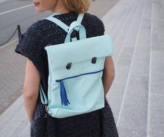 Leather backpak Blue Leather Rucksack Quality от MadamEliseeva
