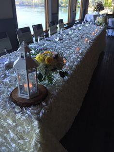 Make a grand statement with your head table by using a different table cloth