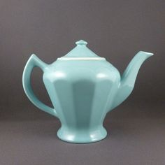 Hall China Albany teapot in Turquoise by PrairieDecArts on Etsy