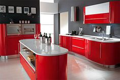 red and grey kitchen design idea http://toolfanatic.com