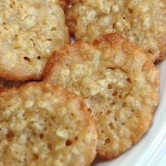 My mom used to make these - they were our favorites!   They are very crisp, and tend to shatter when you bite into them.   Watch them carefully while baking since they do tend to burn quickly.