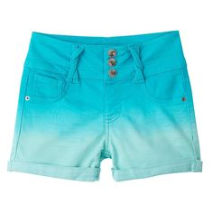 Girls 7-16 SO® Twist Belt Loop Dip Dye Bermuda Jean Shorts, Size: 16, Turquoise/Blue (Turq/Aqua)