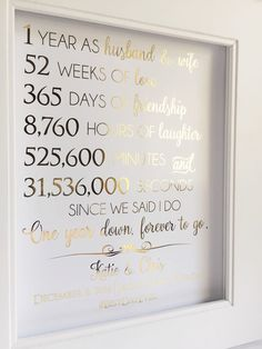 First Anniversary Gift – Anniversary Gift – For Husband or Wife – Customizable – Real Gold Foil Print – Paper Anniversary - DIY Gifts Simple Ideen 1st Anniversary Gifts For Him, First Wedding Anniversary, Paper Anniversary, One Year Anniversary, Boyfriend Anniversary Gifts, Diy Gifts For Boyfriend, 1st Anniversary Quotes, Anniversary Photos, Boyfriend Birthday