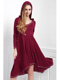 Hooded Long Sleeve Solid Color Dress #womensfashion #pinterestfashion #buy #fun#fashion