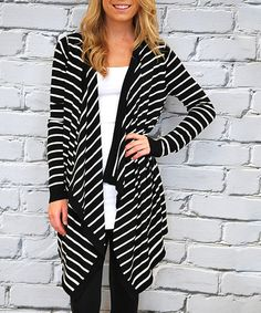This Black & Ivory Thin-Stripe Open Duster by Olivia & Jane is perfect! #zulilyfinds
