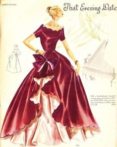 what-i-found: Modes Royal Fabulous Patterns - 1951 Vintage Dress Patterns, Vintage Gowns, Vintage Outfits, Vogue Sewing Patterns, Clothing Patterns, 1950s Fashion, Vintage Fashion, Moda Vintage, Vintage Sewing