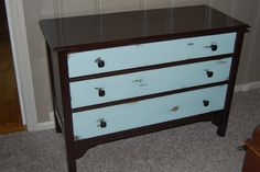 Refinished Dresser, maybe a dark espresso finish for the body or a deep brown and then a yellowish off white for the drawers???