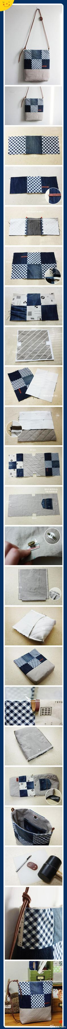 手工DIY DIY斜肩包哦 Love the reuse of the jeans pocket; I would add a zipped pocket to the outside
