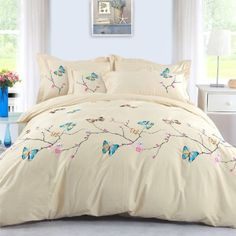 DIAIDI Home Textile,Butterfly Bedding Sets,Embroidered Bedding Set,Queen,4pcs