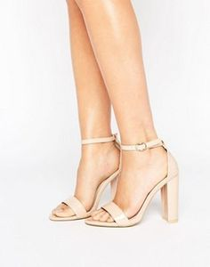 Glamorous Nude Patent Barely There Block Heeled Sandals