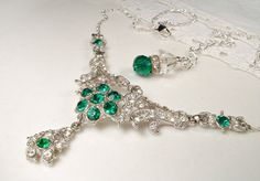 Art Deco Emerald Green Bridal Necklace, Vintage 1930s 1940s Paste Crystal Statement Necklace, Great Gatsby Wedding Flapper Jewelry by AmoreTreasure