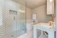 Shower & Bathroom Tile Ideas. Mosaic tiles arabesque waterjet pattern. Tilebuys Arabesque Marrakech Morocco Features  Carrara (Carrera) + White Thassos Marble.  Bathroom remodeling with a budget has never been so satisfying. Marble bathroom flooring and wall. White Bathroom Tiles. #tiles  #tilestyle  #arabesque #marrakech #marocco #bathroom #bathroomideas #bathroomdecor #bathroomremodel #bathroomdesign #bathroomremodeling #bathroomrenovations #marblebathroom #decoratingbathrooms…