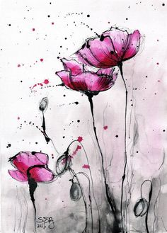 8x12in ink painting  abstract fuchsia pink poppies  poppy flower painting  ver 2- 811