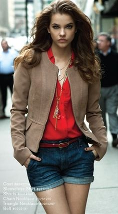 Brown Jacket and Mini Short with red blouse