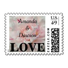 Personalized Pink Peony Name Date Postage Stamps Vow Renewal Invitations, Wedding Invitations, Pink Peonies, Peony, Vow Renewal Ceremony, Wedding Stamps, Love Stamps, Sweetest Day, Self Inking Stamps