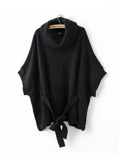 Black Cape-style Loose Bat Sleeve Sweater$43.00