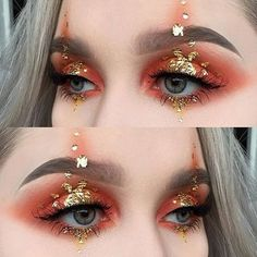 Trendy Make-up Gold Avantgarde Kostüm 30 Ideen - Trendy makeup gold costume avant garde 30 ideas Trendy Make-up Gold Avantgarde Kostüm 30 Ideen Gold Makeup, Glitter Makeup, Makeup Art, Beauty Makeup, Hair Makeup, Makeup Hairstyle, Eyebrow Makeup, Hairstyle Ideas, Red Glitter