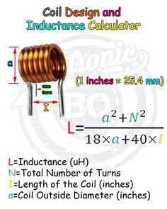 Coil Design and Inductance Calculator. - Coil Design and Inductance Calculator. Coil Design and Inductance Calculator. Electronics Projects, Electronic Circuit Projects, Electrical Projects, Electronics Components, Electronic Engineering, Electrical Engineering, Electronics Gadgets, Chemical Engineering, Electrical Circuit Diagram