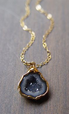 Black Geode Druzy Necklace in 14k gold by friedasophie on Etsy