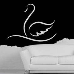 Swan Outline Decorative Wall Art Stickers Decal