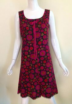 1960s flower power GERALD McCANN mod mini dress london england