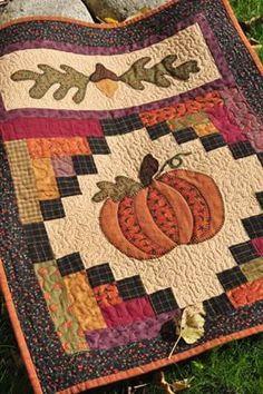 Fall quilt, pumpkin, acorn
