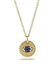Angara Blue Sapphire Evil Eye Pendant with Diamond Accents iguSDfI