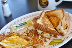 Waffle House - This is my favorite meal there... although my sandwich has sausage and my hashbrowns have jalapenos too. :)