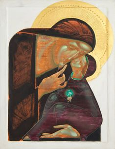 St Anna Mother of God Author icon, Ivanka Demchuk, Ukraine Spiritual Paintings, Religious Paintings, Byzantine Icons, Byzantine Art, Religious Icons, Religious Art, Santa Anna, Jesus Art, Ukrainian Art