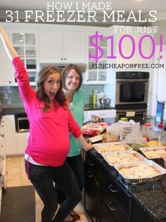 How I made 31 freezer meals for just $100, in 4 hours! Includes free 30 page freezer meal recipe e-book! #freezermeals #cheaprecipes