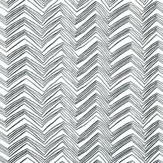 Timeless Treasures House Designer - Foxy Owl - Chevron in White/Black - hawthorne threads