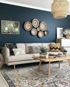 living room 393642823680485634 - deco bleu canard beige salon boheme Source by mademoisellepintade Interior Design Living Room Warm, Living Room Designs, Room Interior Colour, Bedroom Designs, Blue Accent Walls, Dark Blue Walls, Dark Blue Feature Wall, Dark Blue Bedroom Walls, Dark Blue Couch