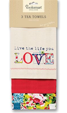 COOKSMART COTTON TEA TOWELS- 3 PACK- ORIENTAL PATCHWORK Tea Towels, Oriental, Card Holder, Love You, Packing, Kitchen, Cards, Cotton, Life