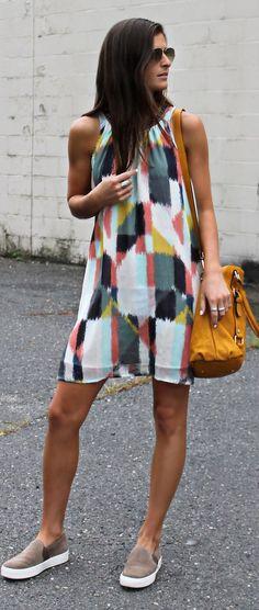 White Multi Geo Tie Dye Mini Dress