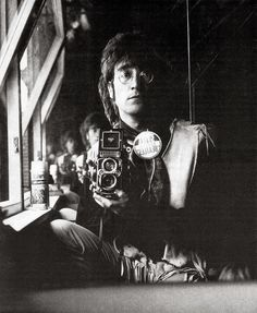 Beatle selfie!! Self-portrait of John Lennon and his Rolleiflex in the attic of his house Kenwood, June 29, 1967