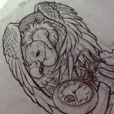 vulture tattoo - never let time go to waste. Leave wasted time to the buzzards. Never waste time never have regrets.
