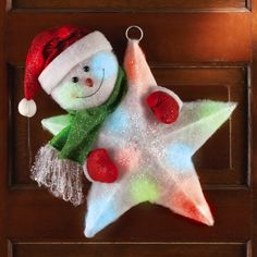 Color Changing Lighted Snowman Star Decoration