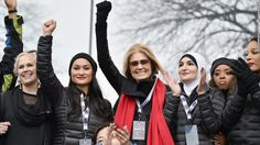 Ginny Suss, Carmen Perez, Gloria Steinem, Linda Sarsour, Tamika Mallory and Mia Ives-Rublee appear onstage during the Women's March on Washington on January 21, 2017 in Washington, DC.