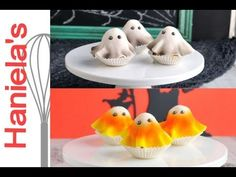 How to Make Fondant Ghost Cupcakes Ghost Cake, Ghost Cupcakes, Halloween Cupcakes, Halloween Treats, Halloween Foods, Halloween Fun, Halloween Decorations, Gum Drop Cake, Mini Cakes