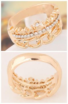 Rhinestone Embellished Crown and Chain Design Fashion Ring